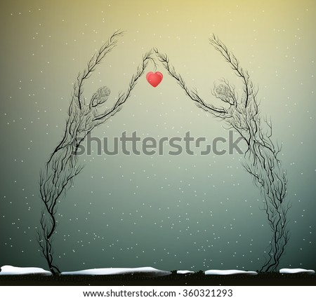 two tree silhouettes like a man and woman holding red heart in snowing weather, Valentine`s day plant decoration, nature icon concept, people like plant, marriage idea surrealism, - stock vector