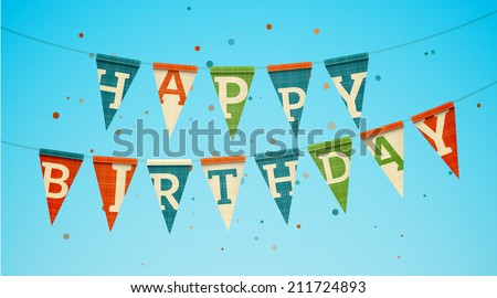 Two triangle flag garlands with Happy Birthday text. EPS10 vector illustration. - stock vector