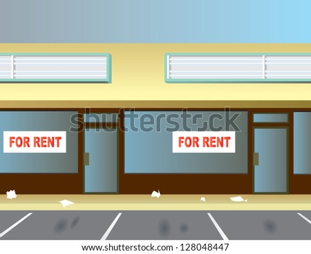 Two vacant storefronts in a typical strip mall. - stock vector