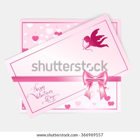 two  valentine with hearts, cupid, pink bow, lettering and place for your text , vector illustration - stock vector