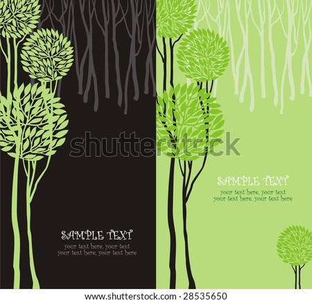 Two variants of cards design with stylized trees and text - stock vector