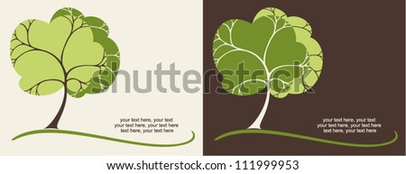 two variants of cards with stylized trees and text - stock vector