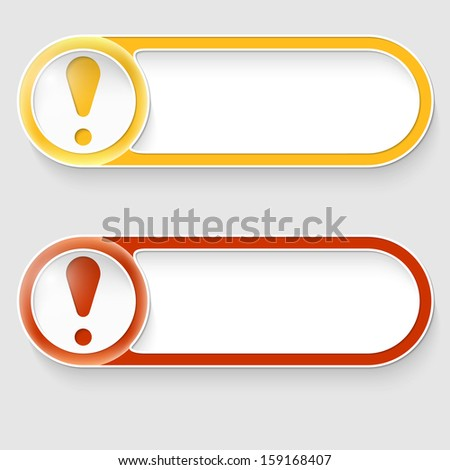 two vector abstract buttons with exclamation mark - stock vector
