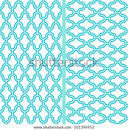 Two vector abstract lattice seamless patterns in turquoise background - stock vector