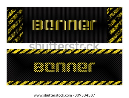 two vector banner with vertical and horizontal scratched, shabby old strips of yellow and black lines on a black striped background - stock vector