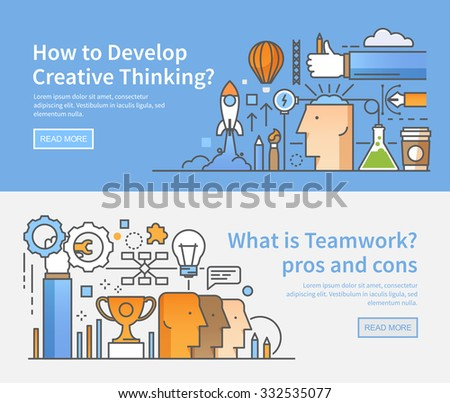 Two vector banners for your business. Linear modern flat style. Creativity in the work. Organization of working process. Management and control. Teamwork. Ideas, lateral thinking, success. Marketing. - stock vector
