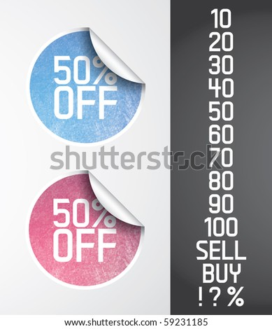 Two vector circle stickers with grunge effect and different shadow style. Grunge effect is fully editable (opacity mask). - stock vector