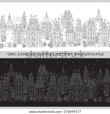 Two vector endless borders. Black and white doodle.Day, night. Fantasy landscape. Fairy tale castle panorama, old medieval town street . Hand drawn sketch, house and tower silhouette.Dark sky, stars - stock vector
