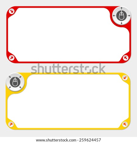 Two vector frames and arrows and mouse symbol - stock vector