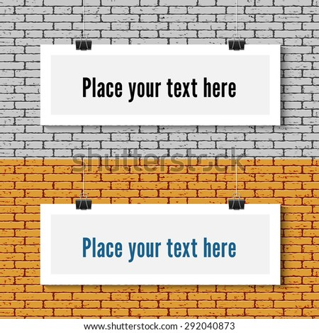 Two Vector horizontal blank white paper poster mock up on the brick wall. Template of paper sheet with clips. Paper card hanging on the rop. - stock vector