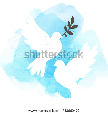 Two vector white doves on blue watercolor background, postcard for international peace day - stock vector