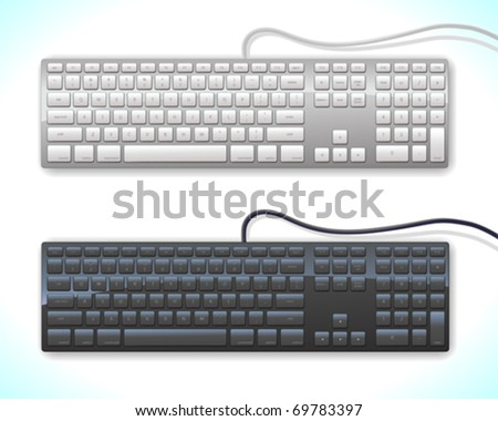 two versions of a modern keyboard on soft background - stock vector
