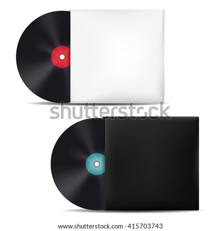Two vinyl records in light and dark blank sleeves - isolated on white background. Vector illustration. - stock vector