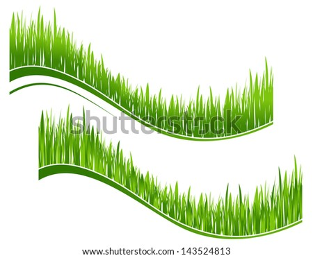 Two waves of green grass for environment or ecology design. Jpeg version also available in gallery  - stock vector