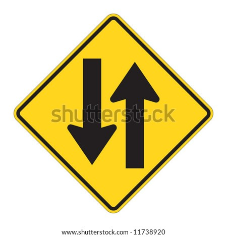 Two Way warning sign on white - stock vector