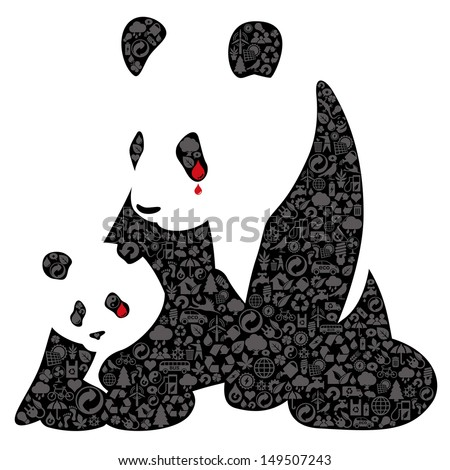 Two weeping pandas made of environmental conservation sign. Expression of the idea for protecting of wildlife and rare animals.  File is layered with global colors. - stock vector