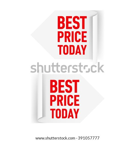 Two White Arrow Paper Stickers for Design - stock vector