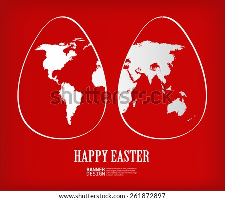 Two white easter eggs with global map pattern on red background - Vector illustration - stock vector