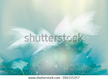 Two white Fishes / Underwater fairy background    - stock vector