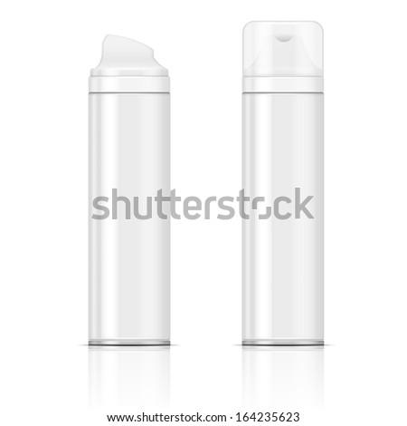 Two white shaving foam or gel bottles. Vector illustration. Packaging collection. - stock vector