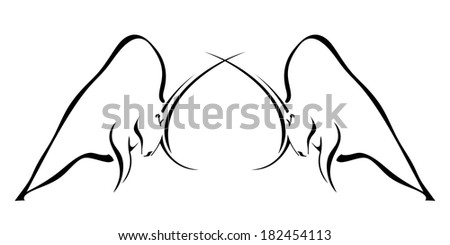 Two wild bull in the spring tournament - stock vector