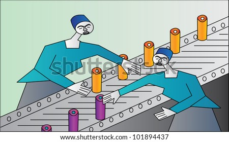 Two women on a production line sorting products - stock vector