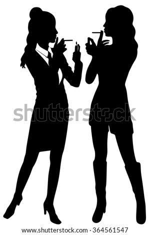 two Women smoking a cigarette - stock vector