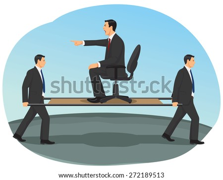 Two workers are carrying big boss a wrong way. Team work under stress. - stock vector