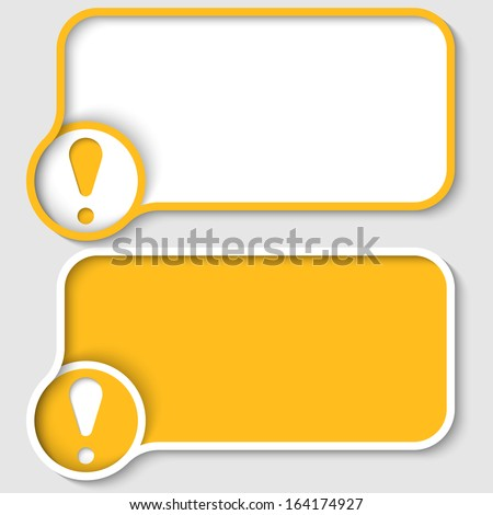 two yellow text frame and exclamation mark - stock vector