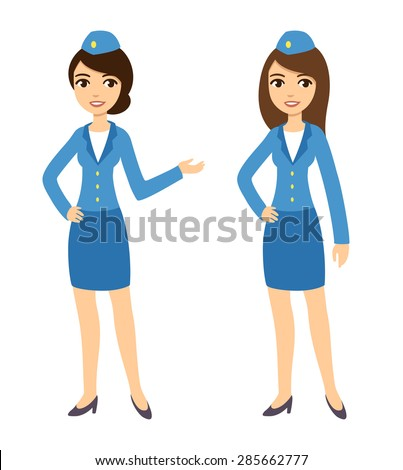 Two young attractive cartoon air hostesses in blue uniform isolated on white background. - stock vector