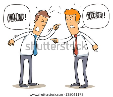 two young business man quarreling. - stock vector