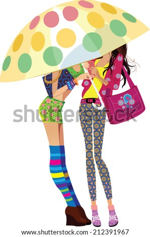 two young girls under an umbrella - stock vector