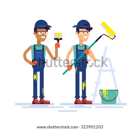 Two young handsome house painters in workwear holding brush and roller. Equipment and tools for painting, stepladder. Modern colorful vector characters guys workers friendly smiling in flat design. - stock vector
