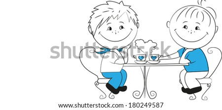 Two young men sitting in a cafe, vector - stock vector