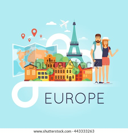 Two young tourists on vacation. Character design. World Travel. Planning summer vacations. Euro-trip. Flat design vector illustration. - stock vector