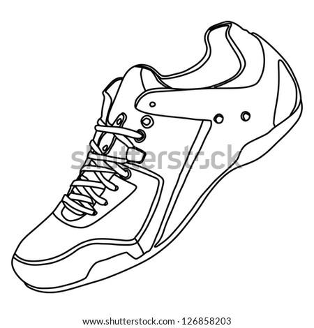 Tying sports shoe - stock vector
