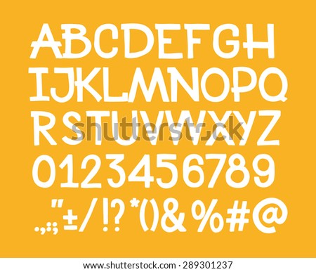 Type letters, numbers and punctuation marks Hand drawin alphabet handwritting abc vector font. - stock vector