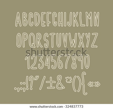 Type letters, numbers and punctuation marks Hand drawn alphabet handwritting abc vector font - stock vector