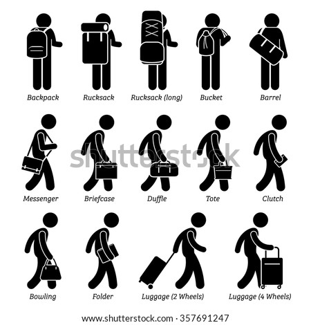 Type of Man Male Bags and Luggage Stick Figure Pictogram Icons - stock vector
