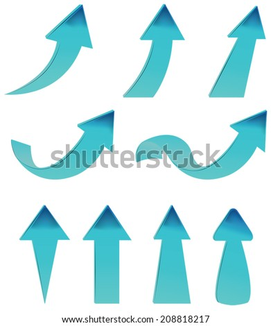 Type of various blue arrow set, create by vector - stock vector