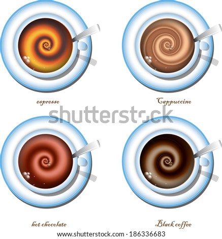 types of coffee - stock vector