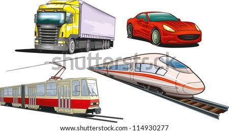 Types of land transportation. - stock vector