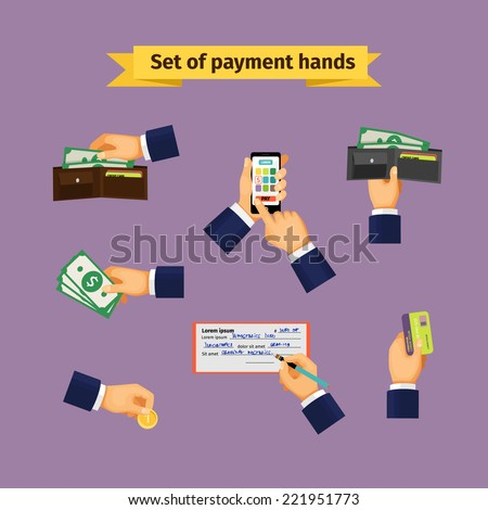 Types of payments. Hands with cash money, credit cards, coins and mobile payments - stock vector