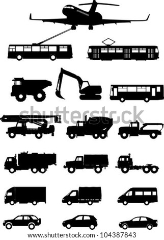 Types of transport - stock vector