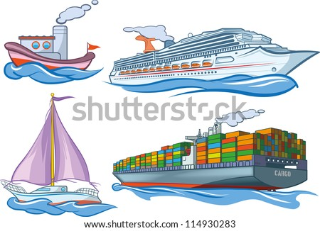 Types of water transportation. - stock vector