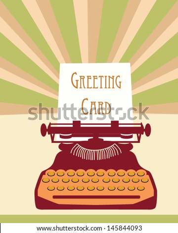 Typewriter card - stock vector