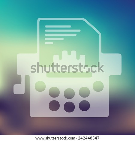 typewriter icon on blurred background - stock vector