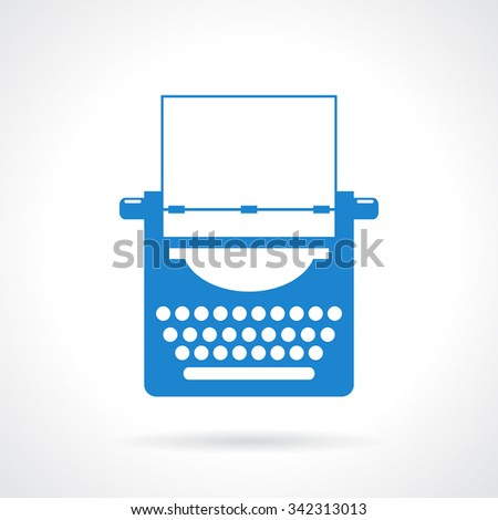Typewriter vector icon illustration isolated on white background - stock vector
