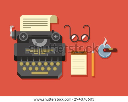 Typewriter with sheet of paper, glasses, notepad, cigar and pen on surface flat vector illustration. - stock vector