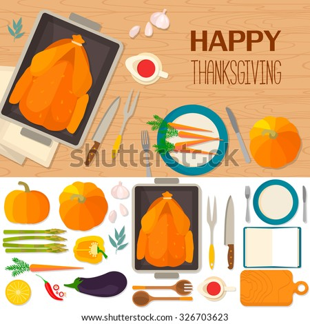 Typical festive Thanksgiving dinner: roast turkey, cranberry sauce, pumpkin, vegetables. It can be used for menus, culinary blog, invitations to dinner. Vector background and objects illustrations. - stock vector